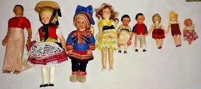 "9 Vintage Dolls 3"" to 9"" Tall Including Tagged Schmider & Rovaniemi Dolls"