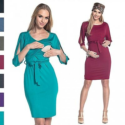 Happy Mama. Women's Nursing Layered Dress Belted Cold Shoulders Pregnancy. 432p