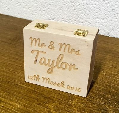 Personalised Engraved Wooden Double Ring Box - Ring Bearer / Wedding Rings
