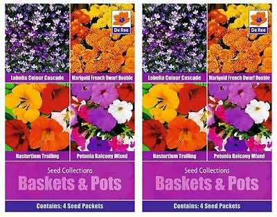 2 PACKS of SEED Collections - BASKETS & POTS, Petunia, Lobelia, Marigold