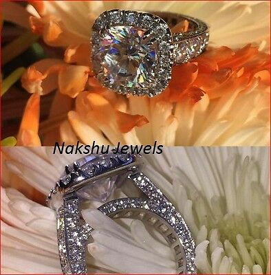 Vintage Style 2.00ct Off White Moissanite Engagement Ring 925 Sterling Silver
