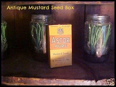 Antique Vintage Advertising Spice Box Astor Pure Mustard Seed with Seeds