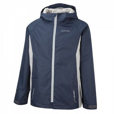 Craghoppers Kids Childrens Manzur Waterproof Jacket in Royal Navy / Quarry Grey