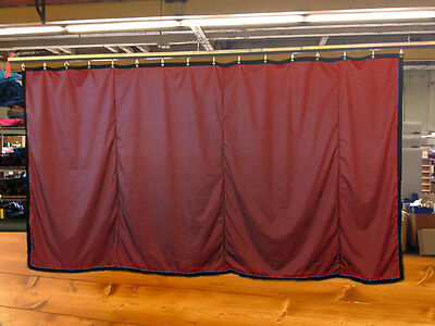 Burgundy Curtain/Stage Backdrop/Partition, Non-FR, 10 H x 20 W
