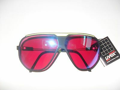 Vintage UVEX Sportstyle Sunglasses Black/Yellow Neon Made In Italy. New
