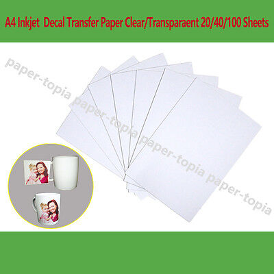 A4 Decal Water Slide Transfer Paper Inkjet Clear/Transparaent 20/40/100 Sheets