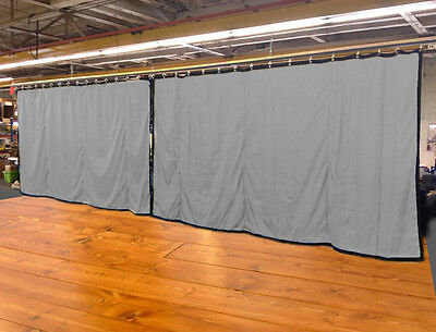 Lot of (2) Silver Curtain/Stage Backdrop, Non-FR, 10 H x 20 W