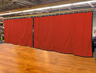 Lot of (2) Mandarin Orange Curtain/Stage Backdrop, Non-FR, 10 H x 20 W