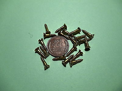 "20 #3 1/2""  SLOTTED BRASS WOOD SCREWS w/ FLAT HEAD FOR ANTIQUE CLOCK REPAIR"
