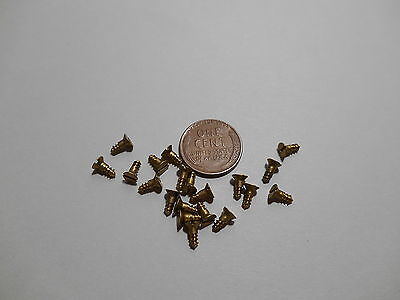 "20 #3 1/4""  SLOTTED BRASS WOOD SCREWS w/ FLAT HEAD FOR ANTIQUE CLOCK REPAIR"