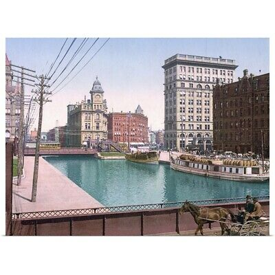 "Poster Print ""Erie Canal at Salina Street Syracuse"""