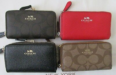 Coach Small Double Zip Coin/ Card Case Mini Wallet F63975/ F63921/ F57855