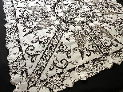 HOSPITALITY Antique Madeira DENSE HAND EMBROIDERY Cutwork Linen Tablecloth 49""