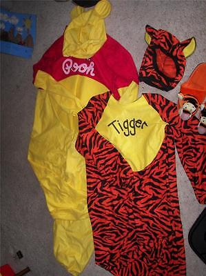 2 Disney adult Winnie the pooh & Tiger +slippers & hats costumes sets xL & S