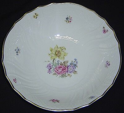 Hutschenreuther Dresden 8981 Flowers White Porcelain Serving Bowl w Gold Germany