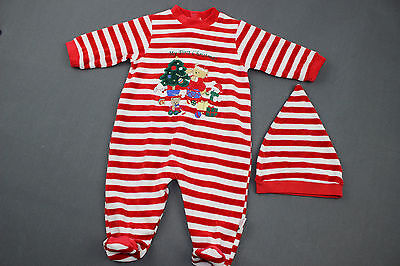 Baby Boy HOLIDAY Sleeper 6 months 2pc Pajama Set Red Striped MY FIRST CHRISTMAS