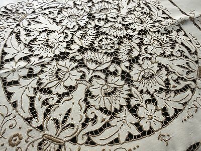 "DRAMATIC Antique Hand Embroidered FLORAL CUTWORK Linen 54"" Tablecloth 6 Napkins"