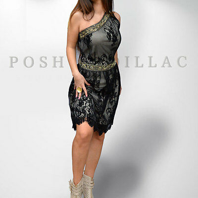 Prom Brides Maid Black Velvet Lace Dress Ancient Greek Hellenic Goddess Gold EU