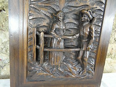 French Antique Deep Carved Architectural Panel Walnut 19 th Middle Age Scene
