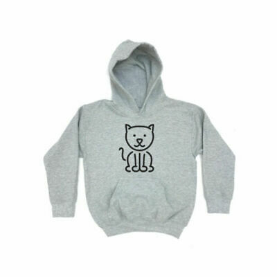 Cat Outline | KIDS HOODIE Girls Boys Childrens Animal Clothing Gift Cute Present
