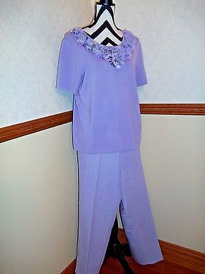 Ladies Alfred Dunner Size 14 Large Lavender Purple 2 pc Top and Pants Set