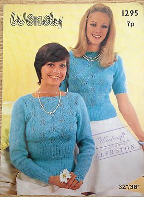 VINTAGE KNITTING PATTERN Ladies Lacy JUMPER SWEATER in Whisper by Wendy 1295