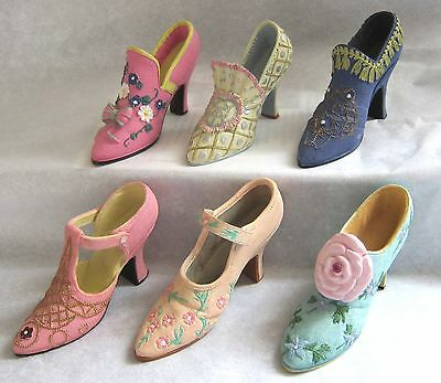 Decorative Set of 6 Miniature Womens Shoes Collectibles 3 to 4 inches MINT