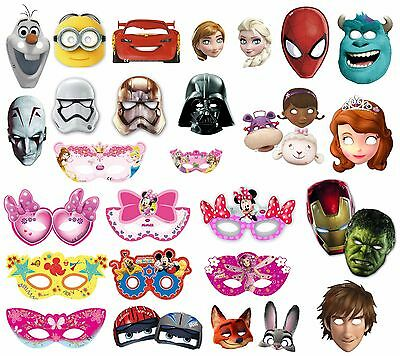 Partymasken 6er Set * Frozen, Cars, Star Wars, Spiderman, Avengers, Minnie uvm.