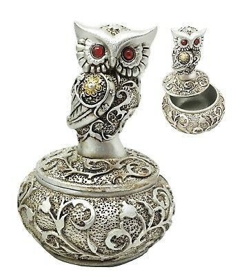Silver & Bronze Ancient Owl With Red Gem Eyes Trinket Jewelry Box Home Decor