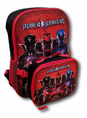 New 2017 Saban's Power Rangers Backpack with Detachable Insulated Lunch Bag