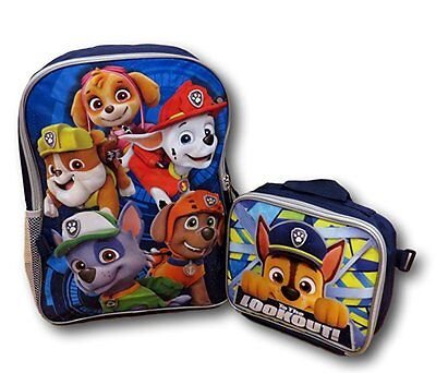 Paw Patrol Chase, Marshall, Tan Backpack with Detachable Insulated Lunch Bag