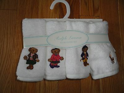 Polo Ralph Lauren Set 4 Washcloths Facecloths White w/ Bear Logo Gift Set NWT