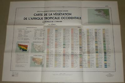 Set of 3 Maps of the Vegetation of West Tropical Africa - 1962/3 - in French