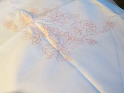 Tri-Chem White Tablecloth With Roses Oval 60x80 Inches To Paint/Embroider