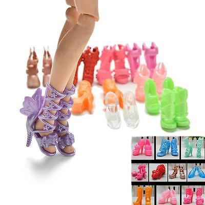 """20 Pcs/10 Pairs Fashion Shoes for 11"""" Barbies Dolls Fixed Styles Color Random ab"""