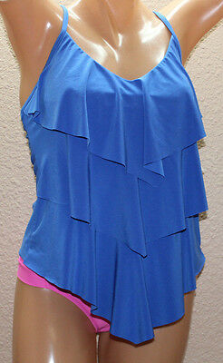15883a56775 *NEW Magicsuit by Miraclesuit Rita Electric Blue Tiered Tankini Top 10 #FM1