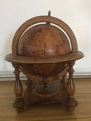 "Vintage MADE IN ITALY ZODIAC 6"" DIAMETER OLDE WORLD GLOBE on Wood Stand Base"