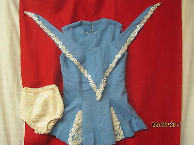 Vintage Cheerleader Band Outfit blue with white sequin panties & Scarf