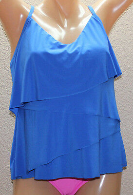 f7f6b488dfb *NEW Magicsuit by Miraclesuit Chloe Electric Blue Tiered Tankini Top 10 #FM2