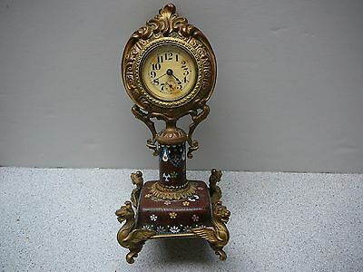 Beautiful antique Clock with Chinese Cloisonne and ormolu gilt metal base 19thC