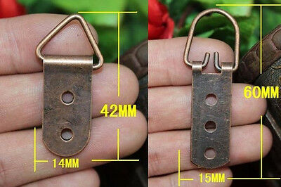 6-36pcs Triangle D-Ring Mirror Picture Frame Hanging Hanger Hooks&Screws 42/60MM