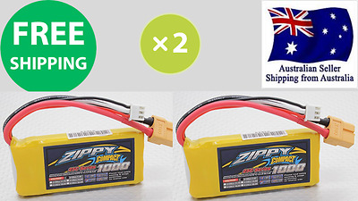 2 Pack ZIPPY COMPACT 1000mAh 2S 25C 7.4v XT60 LIPO Battery RC Plane Helicopter
