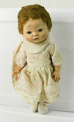 """Vintage 15"""" Baby Girl Doll Sleepy Eyes American Character Doll Co 1958 Button"""