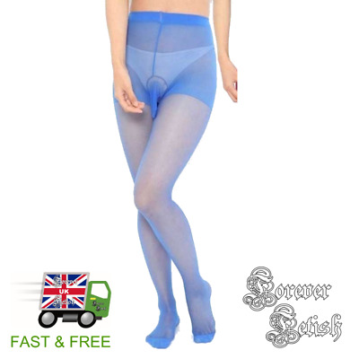 Mens Penis Pouch Pantyhose Tights Sissy Legs Feet Slut Foot Fetish Cock - Blue
