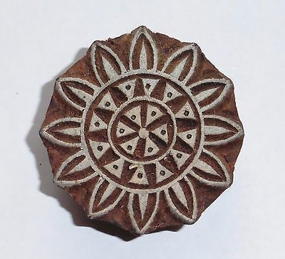 Round Shaped 5cm Indian Hand Carved Wooden Printing Block Stamp (2017-RD-2)
