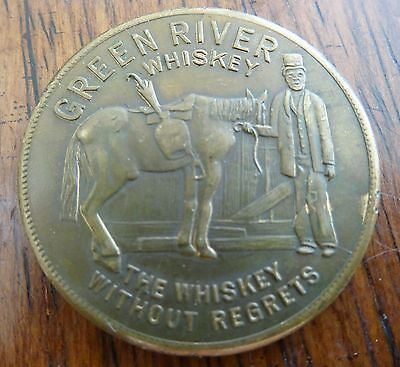 1930's Green River Whiskey The Whiskey Without Regrets Its Lucky to Drink Token