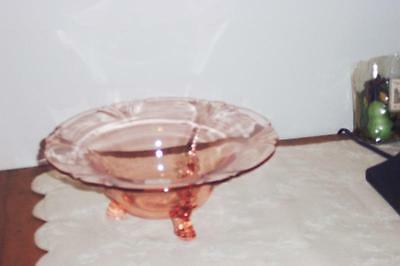 """Heisey #1401 Empress Flamingo 11"""" Dolphin Footed Floral Bowl No Reserve"""