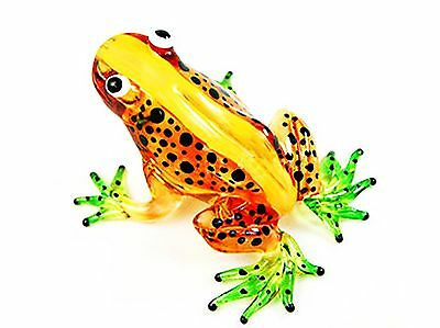 Lampwork COLLECTIBLE MINIATURE HAND BLOWN Art GLASS New Light Brown Frog ... NEW