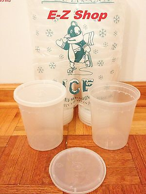 25 sets 32oz plastic soup/Food container with lids 25 PACK NEW