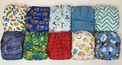 10 PACK POCKET CLOTH DIAPERS WITH 20 INSERTS (2 Inserts per diaper)-BOY P... NEW